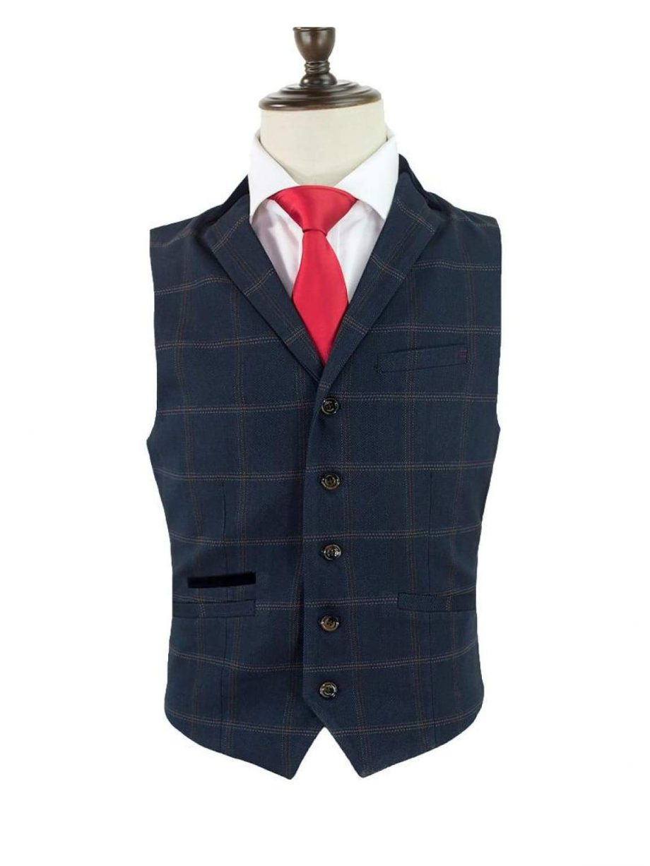 Cavani Connall Navy Tweed Check Style Waistcoat - 36 - Suit & Tailoring