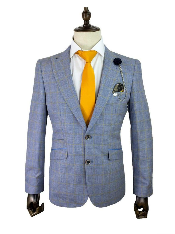 Cavani Connor Blue Sim Fit Tweed Style Blazer - 34 - Suit & Tailoring