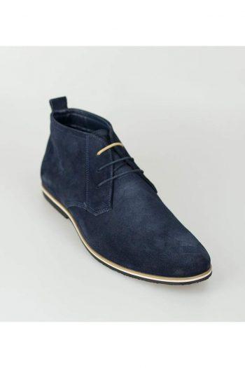 Cavani Desert Mens Blue Suede Boots - Boots