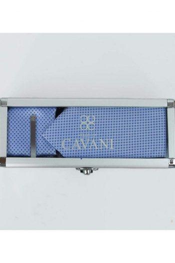 Cavani Diamond Tie Hank Tie Pin Cufflinks Set - Blue - Accessories