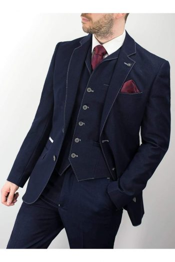 Cavani Fabian Navy Denim Three Piece Suit - 34R / 28R - Suit & Tailoring