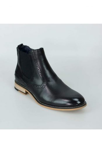 Cavani Fox Black Mens Leather Boots - Boots