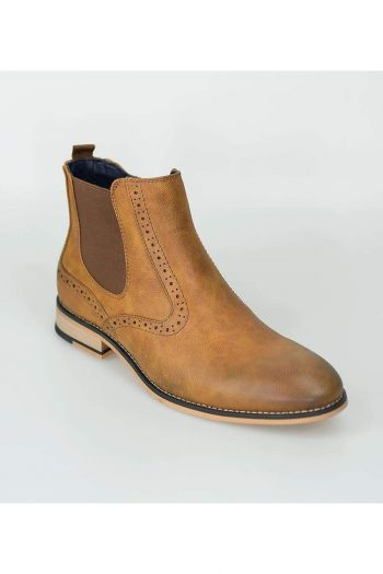 Cavani Fox Tan Mens Leather Boots - Boots