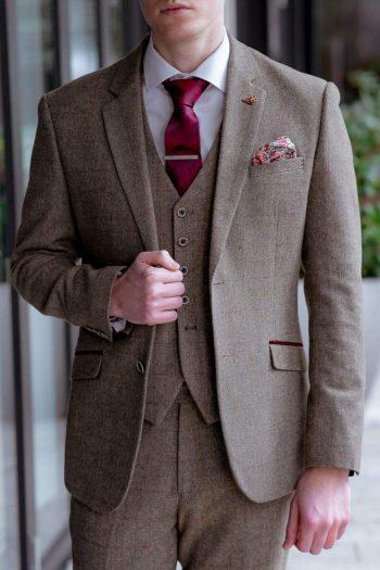 Cavani Gaston Sage Sim Fit Tweed Style Blazer - 34 - Suit & Tailoring