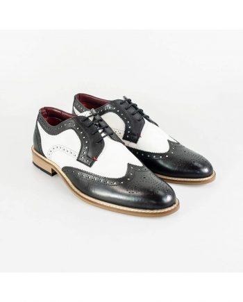 Cavani Gatsby Brogue Mens Black And White Shoe - Shoes