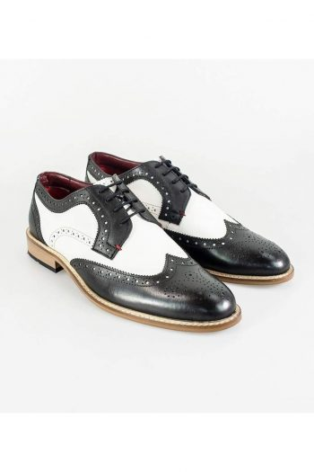 Cavani Gatsby Brogue Mens Black And White Shoe - Shoes