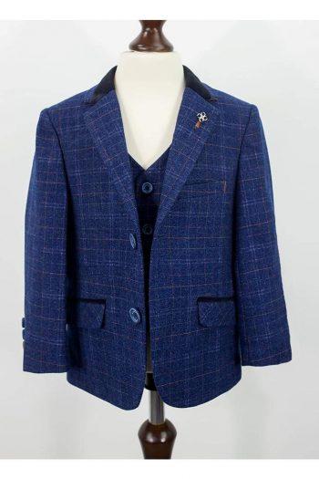 Cavani Kaiser Boys Three Piece Blue Slim Fit Suit - Suit & Tailoring