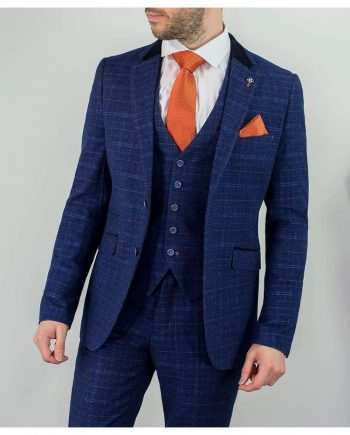 Cavani Kaiser Mens Blue Tweed Three Piece Suit - Suit & Tailoring