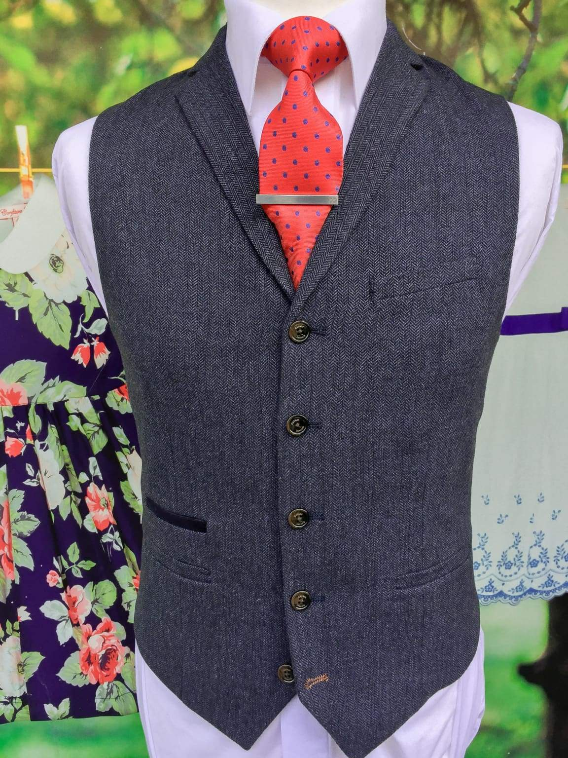 Cavani Martez Tweed Navy Mens Slim Fit Waistcoat - 36 - Suit & Tailoring
