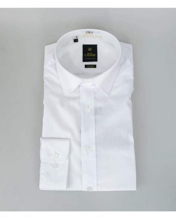 Cavani Mens Easy Iron Slim Fit White Shirt - Shirts