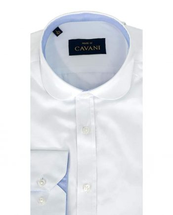 Cavani Mens Round Collar Slim Fit White Shirt - UK 14.5 | EU 37 - Shirts