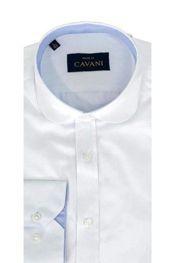 Cavani Mens Round Collar Slim Fit White Shirt - UK 14.5 | EU 37 - Shirts