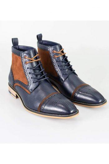 Cavani Modena Navy/Cognac Mens Leather Boots - UK7   EU41 - Boots