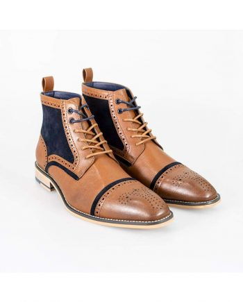 Cavani Modena Tan/Navy Mens Leather Boots - UK6 | EU40 - Boots