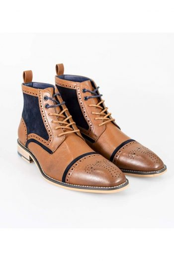 Cavani Modena Tan/Navy Mens Leather Boots - UK6   EU40 - Boots