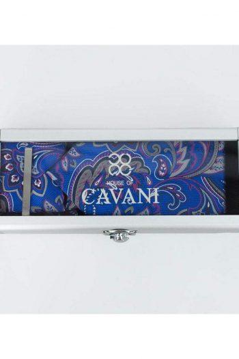 Cavani Paisley Tie Hank Tie Pin Cufflinks Set - Blue - Accessories