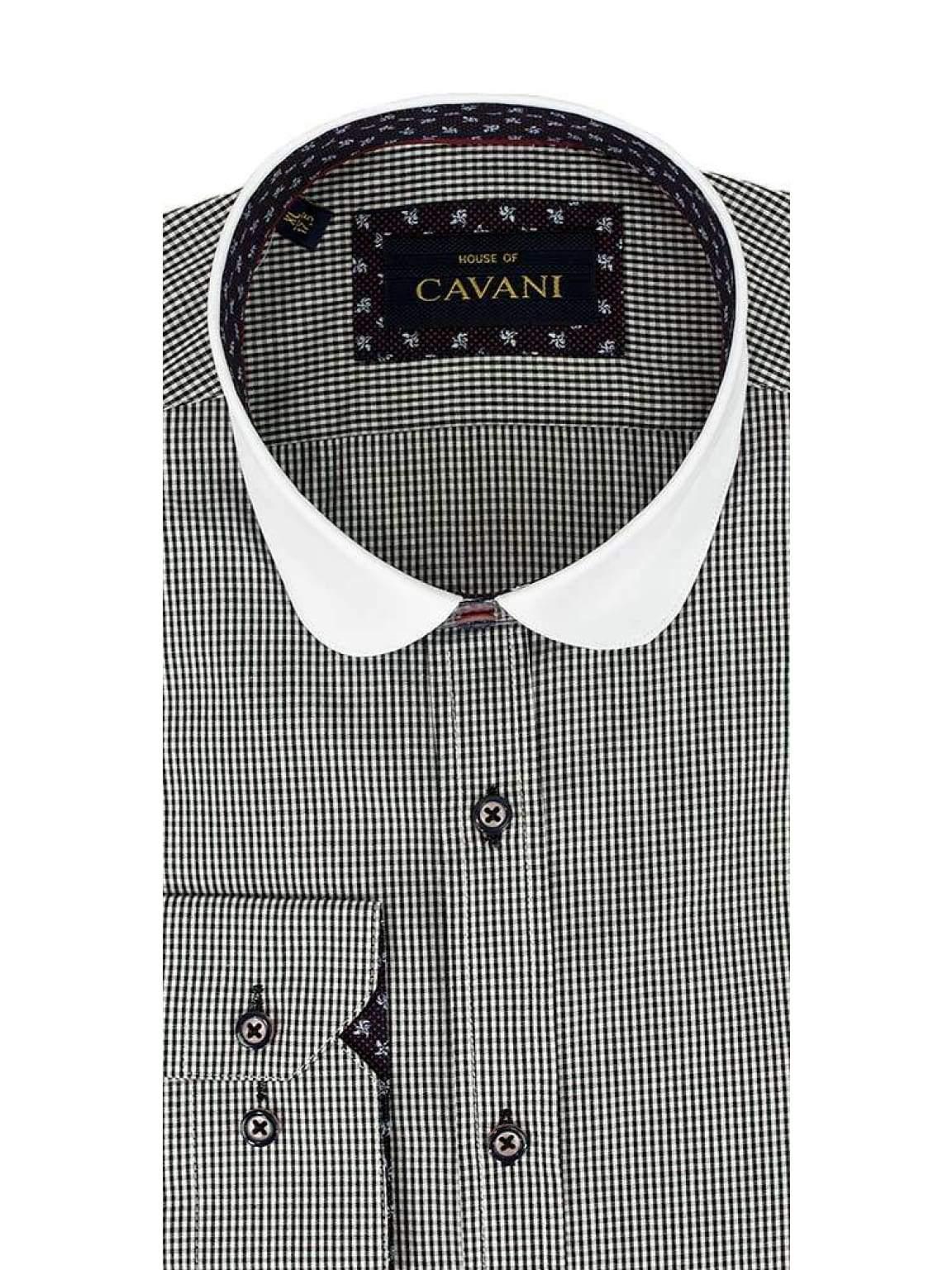 Cavani Penny Collar Black Gingham Check Shirt - UK 14.5 | EU 37 - Shirts