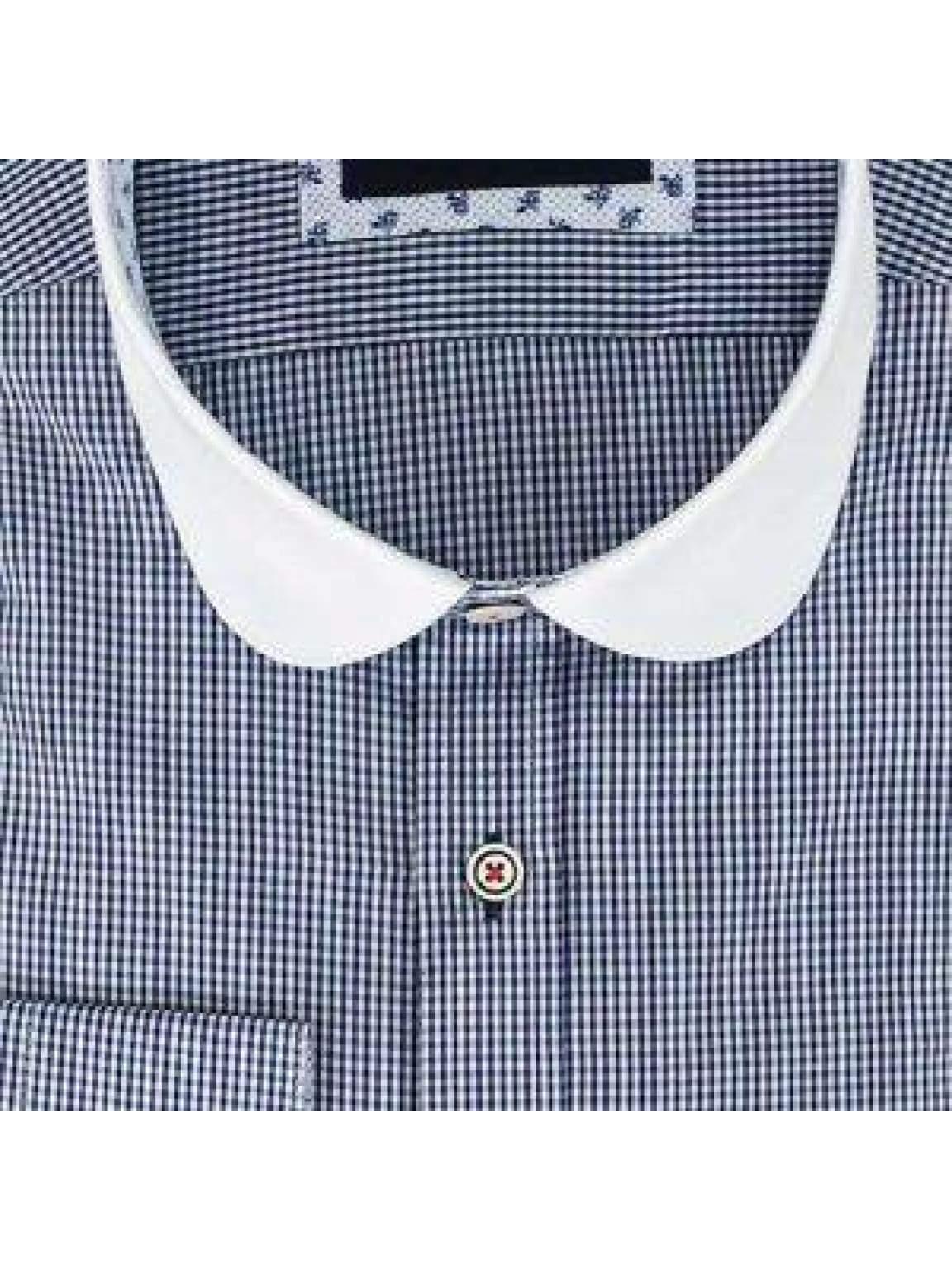 Mens Designer Cavani Shirt Cotton Brown Blue Check Smart Casual Suit Shirt