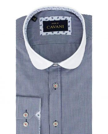 Cavani Penny Collar Navy Gingham Check Shirt - UK 14.5 | EU 37 - Shirts