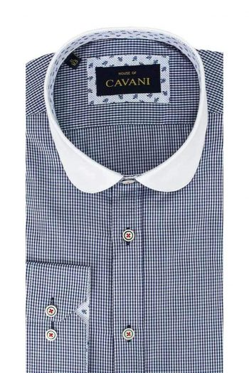 Cavani Penny Collar Navy Gingham Check Shirt - UK 14.5 | EU 37 - Shirts