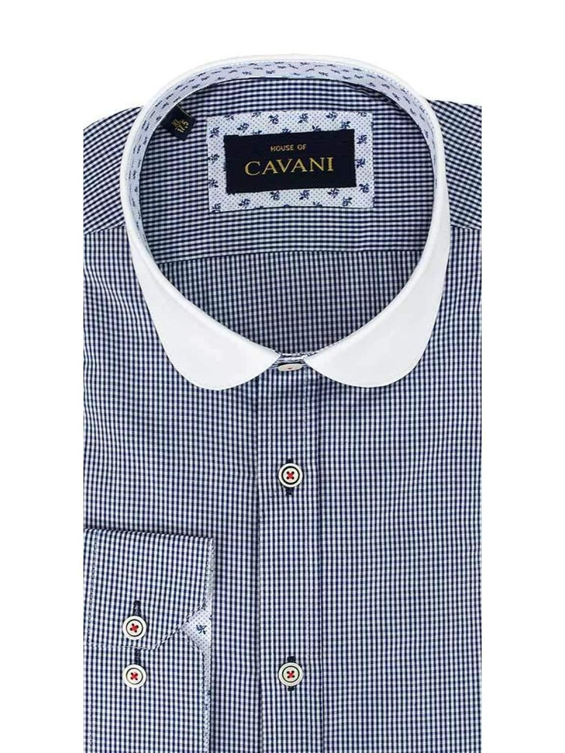 Cavani Penny Collar Navy Gingham Check Shirt - UK 14.5   EU 37 - Shirts