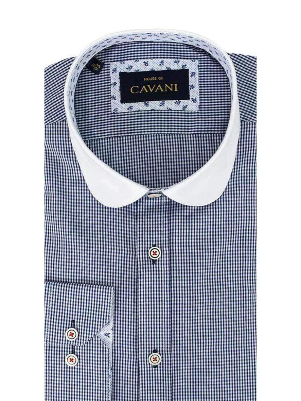 Cavani Penny Collar Navy Stripes Shirt - UK 14.5 | EU 37 - Shirts