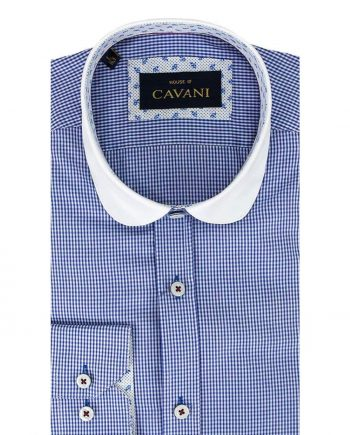 Cavani Penny Collar Royal Blue Gingham Check Shirt - UK 14.5 | EU 37 - Shirts