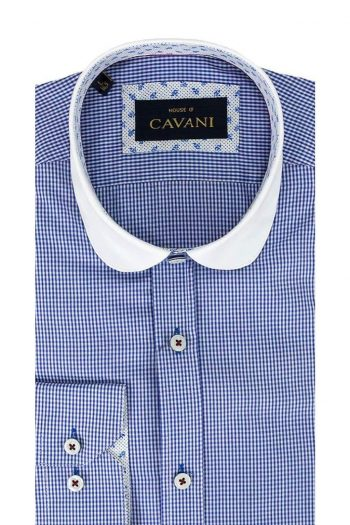 Cavani Penny Collar Royal Blue Gingham Check Shirt - UK 14.5 | EU 37 - Shirts