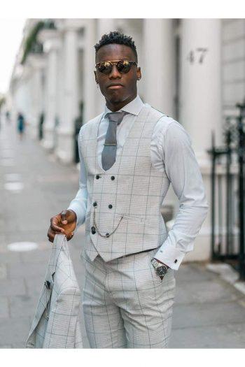 Cavani Radika 3 Piece Light Grey Check Tweed Suit - Suit & Tailoring