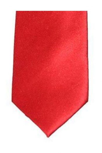 Cavani Red Plain Satin Tie Set - Accessories