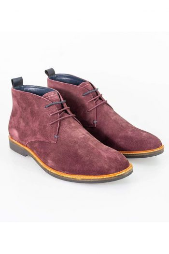 Cavani Sahara Burgundy Mens Leather Boots - UK7 | EU41 - Boots