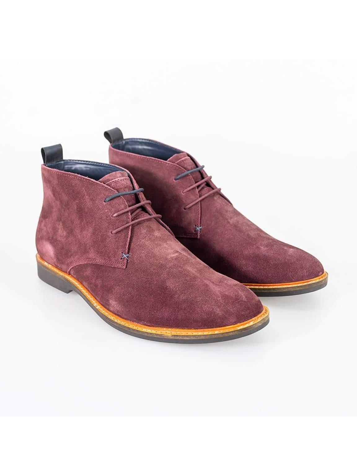 Cavani Sahara Burgundy Mens Leather Boots - UK7 | EU41 - Boots