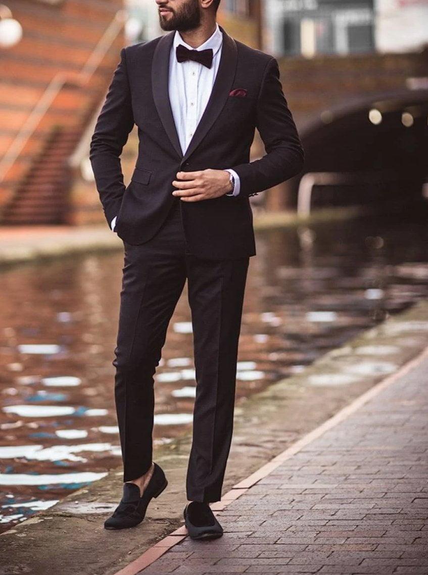 Cavani Saki 2 Piece Black Slim Fit Tweed Suit - 36R / 30R - Suit & Tailoring