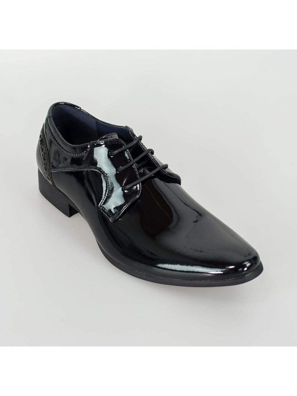 Cavani Scott Black Patent Mens Leather Shoes - Shoes