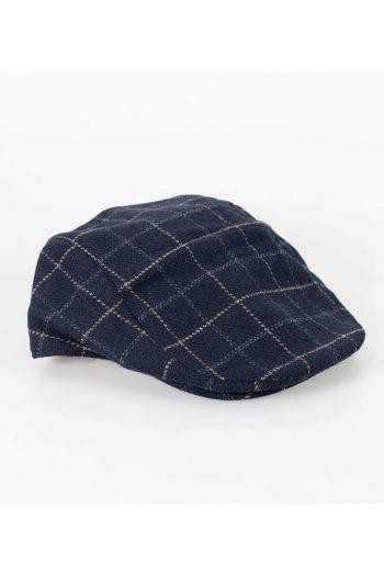 Cavani Shelby Navy Tweed Check Flat Cap - S/M - Accessories