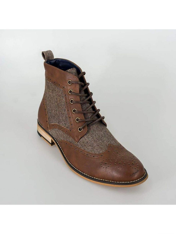 Cavani Sherlock Brown Mens Tweed Brogue Boots - Shoes