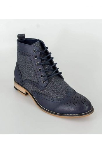 Cavani Sherlock Navy Mens Tweed Brogue Shoes - Shoes