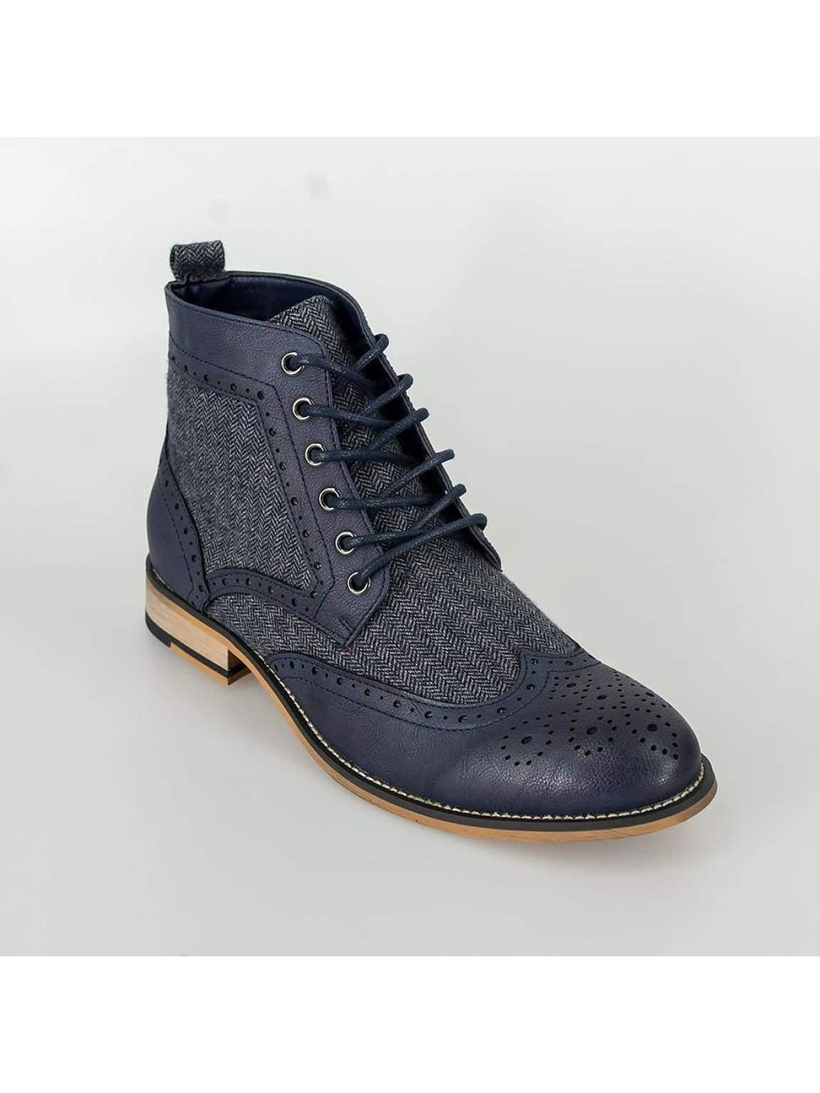 Cavani Sherlock Navy Mens Tweed Brogue Shoes - Shoes