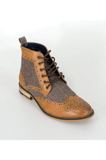 Cavani Sherlock Tan Mens Tweed Brogue Shoes - UK7 | EU41 - Shoes