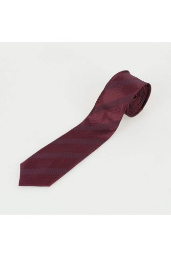 Cavani Wine Stripe Woven Tie Setwith Hank & Tie Pin - Accessories