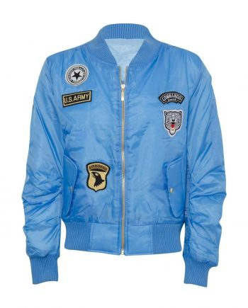 Celebrity Badged Classic Padded Bomber Jacket In Blue - S - Shirts