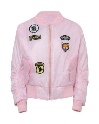 Celebrity Badged Classic Padded Bomber Jacket In Pink - XS - Shirts