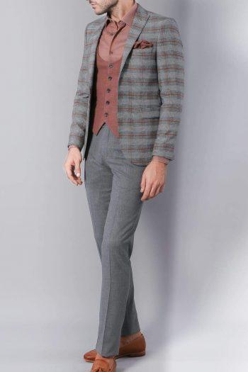 Christian Mens 3 Piece Grey Brown Mix & Match Slim Fit Suit - Suit & Tailoring