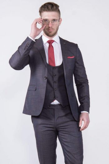 Galbani Mens 3 Piece Slim Fit Italian Style Brown Suit - Suit & Tailoring