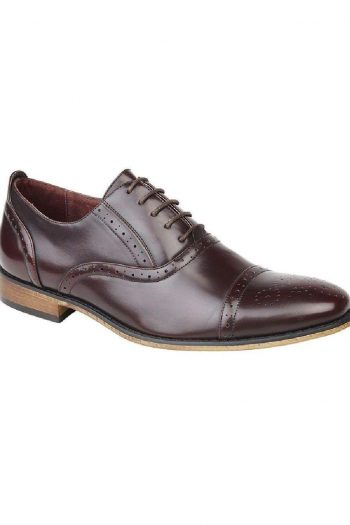 Goor Mens Oxblood Burnished Capped Lace Oxford Brogue Shoe - UK6 | EU 40 - Shoes