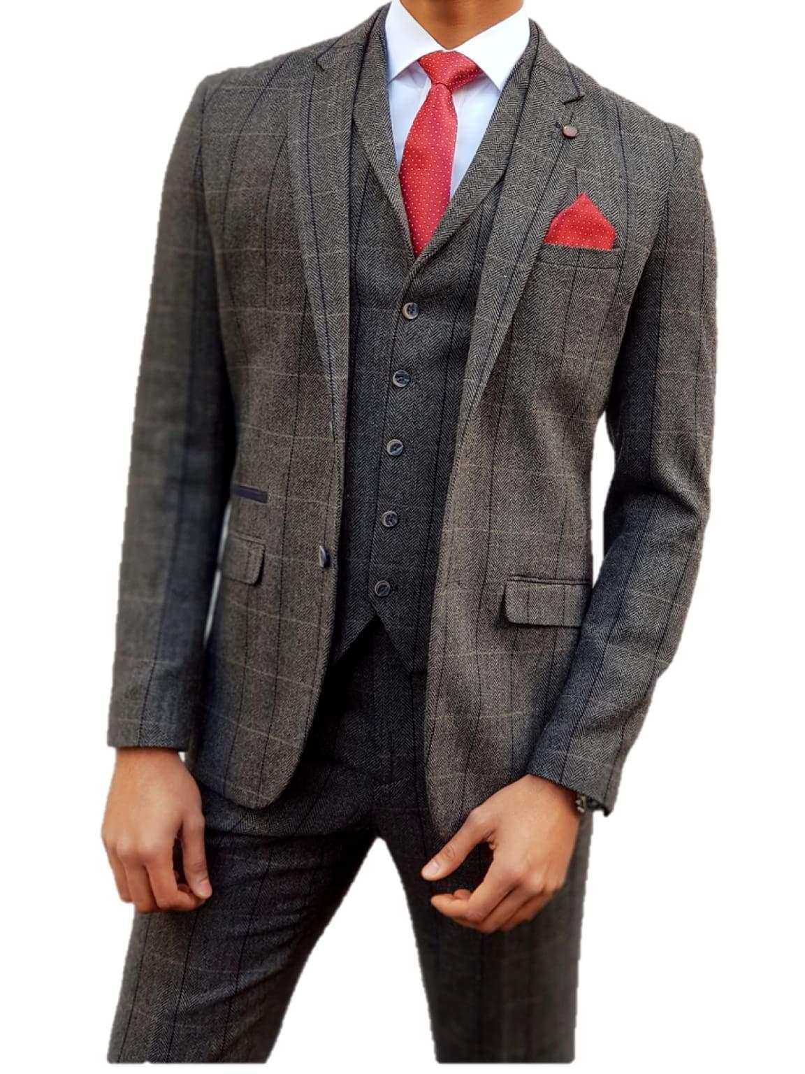 Grey Tweed Suit Albert 3 Piece Slim Fit by House of Cavani - Suit & Tailoring