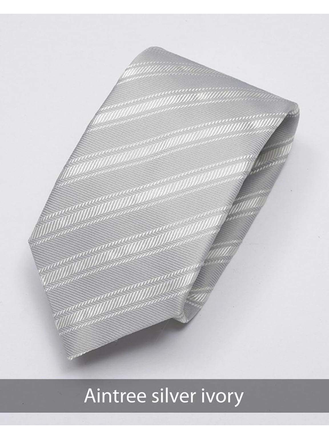 Heirloom Aintree Mens Silver Ivory Stripped Tie - Accessories