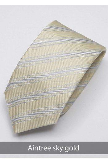 Heirloom Aintree Mens Sky Gold Stripped Tie - Accessories