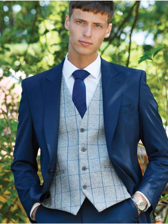 Heirloom Ariana Mens Silver Blue Luxury 100% Wool Tweed Waistcoat - 34R - WAISTCOATS