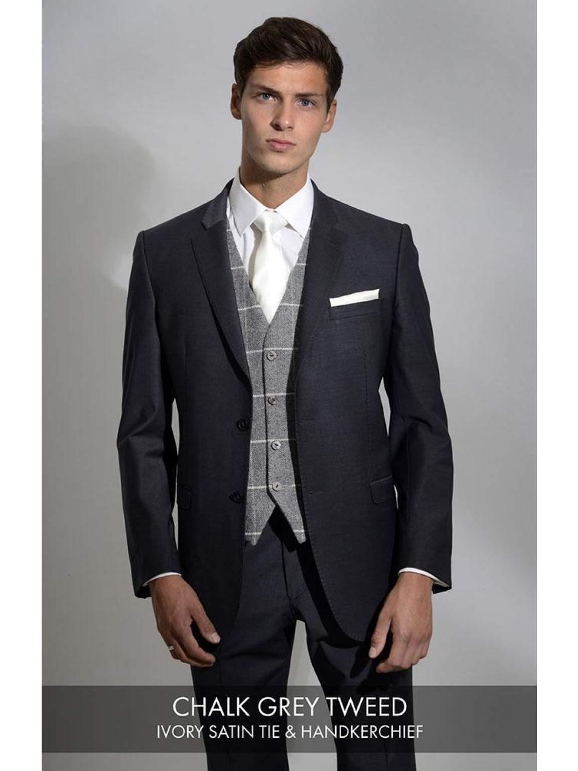 Heirloom Chalk Grey Mens Luxury 100% Wool Tweed Waistcoat - 34R - WAISTCOATS